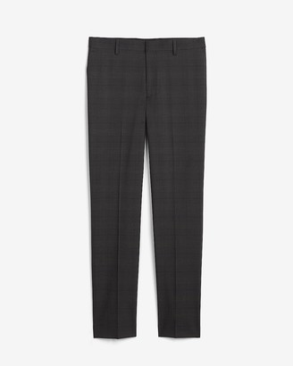 Express Extra Slim Charcoal Plaid Performance Blend Suit Pant