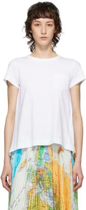 Sacai White Pleated Wool Map T-Shirt