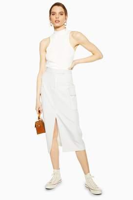 Topshop Womens Ivory Split Utility Midi Skirt - Ivory
