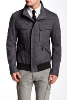 HUGO BOSS Pinstripe Genuine Leather Trim Jacket