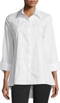 Neiman Marcus Sunburst Tailored Tunic, White