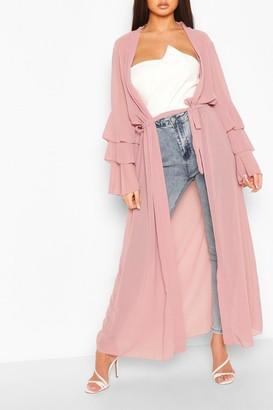 boohoo Tiered Sleeve Maxi Belted Kimono