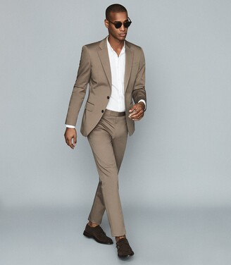 Reiss Class - Cotton-blend Twill Trousers in Taupe