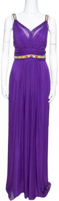 Dolce & Gabbana Purple Silk Chiffon Embellished Maxi Dress L