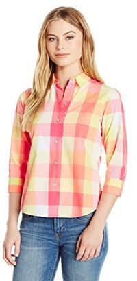 Foxcroft Women's Petite Size 3/4 Sleeve Sue Multi Buffalo Check Shirt