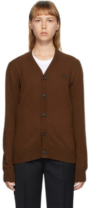 Acne Studios Brown V-Neck Patch Cardigan