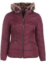 Celebrity Pink Bramble Wine Faux Fur-Accent Jacket