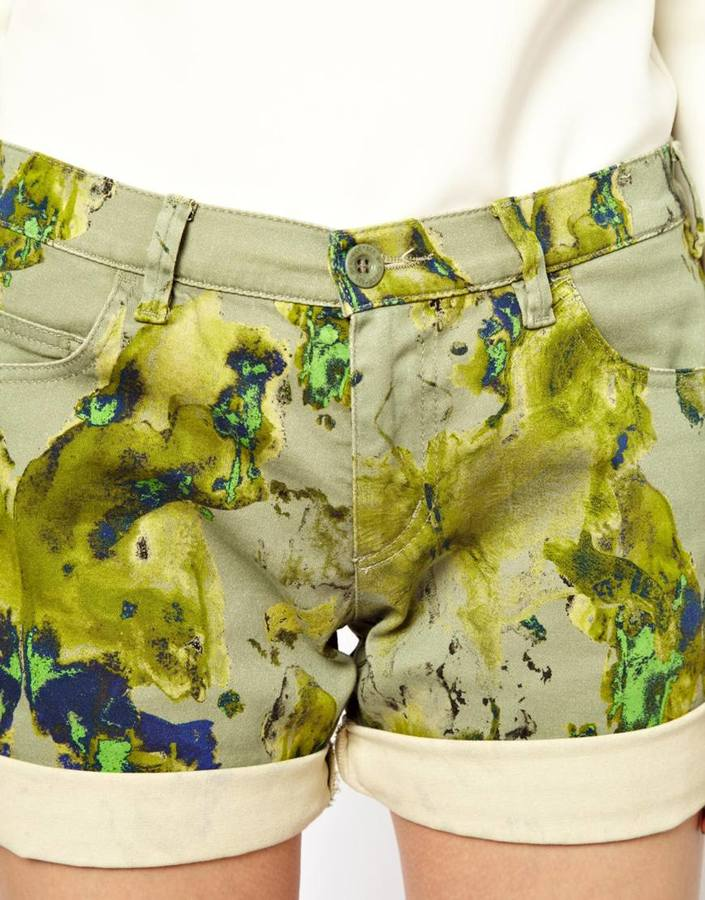 See by Chloe Denim Shorts in Watercolour Camo