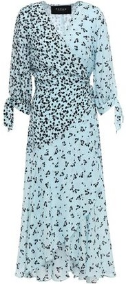 Paper London Printed Crepe De Chine Midi Wrap Dress