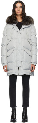 Yves Salomon Army Grey Down and Fur Doudoune Jacket