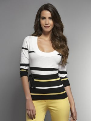 New York & Co. Fine Gauge Striped Pullover with Belt