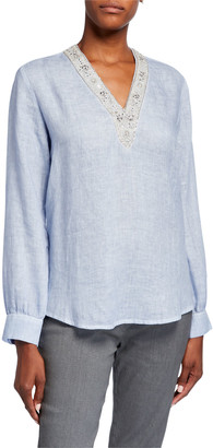 120% Lino Embellished V-Neck Long-Sleeve Linen Tunic