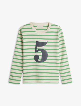 Bob & Blossom 'Five' striped cotton T-shirt 5-6 years