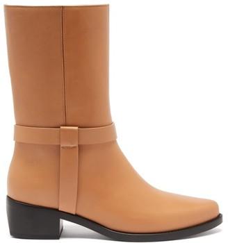 LEGRES Stacked-heel Leather Biker Boot - Tan