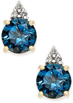 Macy's London Blue Topaz (2 ct. t.w.) and Diamond Accent Stud Earrings in 14k Gold