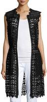 Elie Tahari Jordan Long Lace Vest, Black