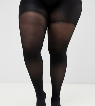ASOS DESIGN Curve 60 denier black tights with bum tum and thigh support