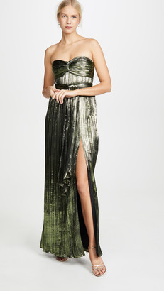 Jonathan Simkhai Metal Plisse Strapless Gown