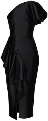 Rasario Asymmetric stretch-satin midi dress