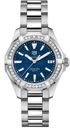 Tag Heuer Aquaracer Stainless Steel Diamond Quartz Watch 35mm