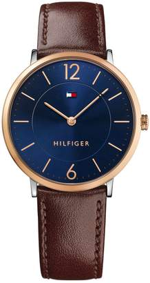 Tommy Hilfiger Analog Blue Dial Brown Leather Strap Watch