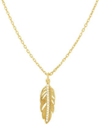 Chloe & Madison 14K Gold Vermeil & Crystal Feather Pendant Necklace