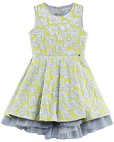 Miss Grant Yellow and Silver Jacquard Flower Dress