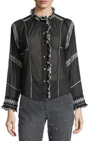 Etoile Isabel Marant Lauryn Button-Front Ruffled Gauze Top