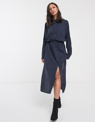 Weekday Cecilia button through shirt dress in navy