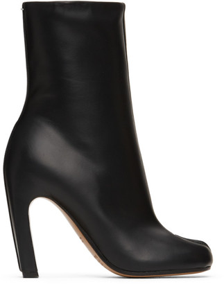 Maison Margiela Black Leather High Tabi Ankle Boots
