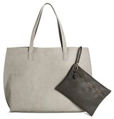 Under One Sky Women's Faux Leather Under One Sky Reversible Tote Handbag with Bonus Removable Wristlet