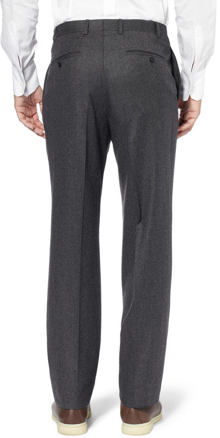 Canali Relaxed-Fit Wool-Flannel Trousers