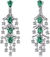 Ice 4 CT TGW Teardrop Simulated Emerald Sterling Silver Dangle Earrings with CZ Accents