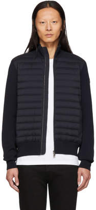 Moncler Navy Down Maglia Zip-Up Sweater
