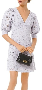 MICHAEL Michael Kors Floral-Lace Bubble-Sleeve Mini Dress