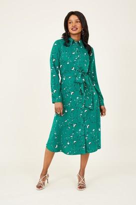 Yumi Green Ditsy Midi Shirt Dress