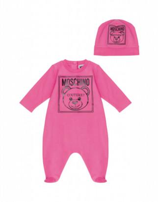 Moschino Teddy Label Onesie And Hat Set Unisex Pink Size 1/3m It