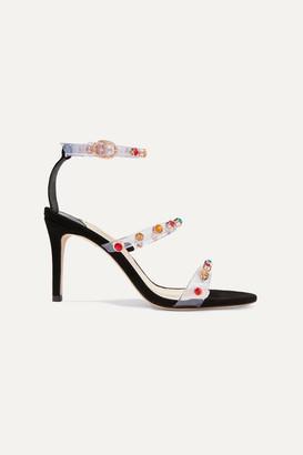Sophia Webster Rosalind Crystal-embellished Vinyl And Suede Sandals - Black
