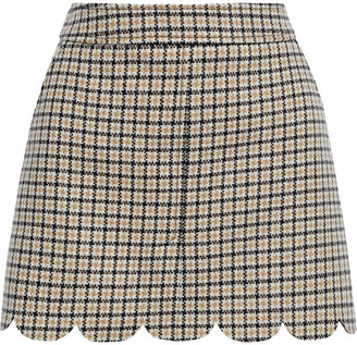RED Valentino Scalloped Checked Wool-blend Tweed Mini Skirt
