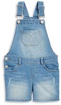 Calvin Klein Girls 2-6x Light Wash Denim Overalls