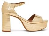 Tabitha Simmons Patton Crocodile-effect Leather Platform Sandals - Womens - Gold