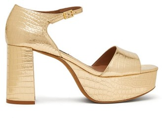 Tabitha Simmons Patton Crocodile-effect Leather Platform Sandals - Gold