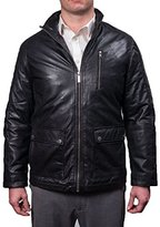 Nautica Men's Leather Zip Front with Patch Pockets