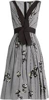 Marc Jacobs Floral-flocked gingham A-line dress