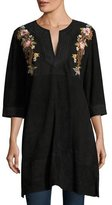 Johnny Was Esmerelda Suede Kaftan Tunic W/ Embroidery , Plus Size