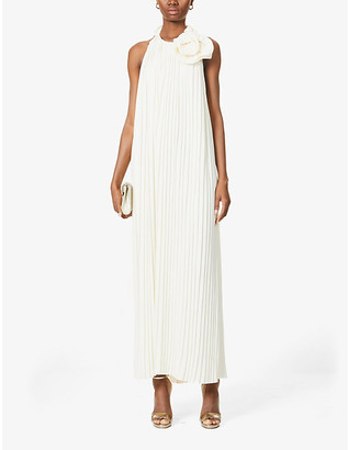 Magda Butrym Corsage-detail pleated crepe maxi dress
