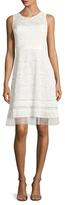 BCBGMAXAZRIA Lace Striped Flare Dress