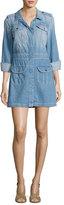 7 For All Mankind Button-Front Denim Shirtdress, Indigo