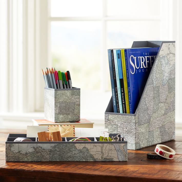 STUDY Printed Desk Accessories - Black and White Map
