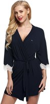 Ekouaer Kimono Robes Womens Comfy Nightwear Sleepwear Short Style (Navy Dot,)